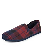 Checked Slip-On Slippers