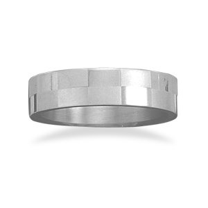Alternating polished and brushed stainless steel ring.