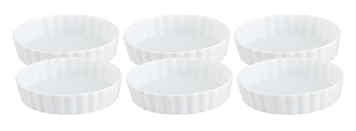 HIC Porcelain Round Quiche Dish 4- by 1-inch Set of 6