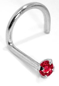 2.0mm Ruby (July) - 950 Platinum Nose Ring Twist / Screw- 20 Gauge