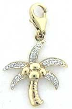 Palm Tree, 14K White Gold Diamond Charm