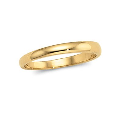14K Yellow Gold, Half Round Tapered Wedding Band 3MM (sz 6)