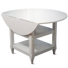 """Cottage Dining Table- White Includes Two 11"""" Drop Leaves That Expands Serving Surface To 48"""", Home Kitchen Furniture With 2 Lower Shelves For Storage front-646401"""
