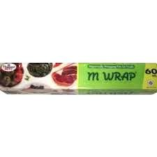 M Wrap Hygienically Wrapping Film For Foods Suitable For Microwave And Refrigerator Size 30 Cm. X 60 M. X 11 Micrometer