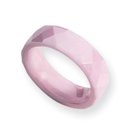 Ceramic Pink Faceted 6mm Polished Band Ring - Size 8 - JewelryWeb