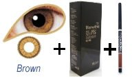Brown Contact Lenses, solution and case