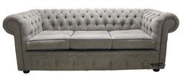 Chesterfield 3 Seater Settee Kimora Grey/Blue Fabric Sofa Offer
