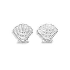 Clam Shell Stud Earrings Sterling Silver Scalloped