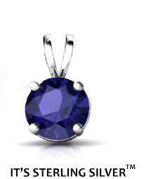 925 Sterling Silver Solitaire 1.50 Carat Sapphire Cubic Zirconia Pendant. (Basket Setting) 1.50 carat 7 mm Round Top Quality Cubic Zirconia