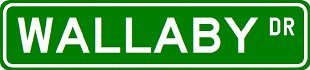 WALLABY Street Sign ~ Custom Aluminum Street Signs – 6 x 24 inches