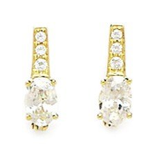 14ct Yellow Gold April Birthstone Clear 3x5mm Oval CZ Leverback Earrings - Measures 12x3mm