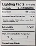 HitLights 8 Watt UL-Listed A19 Warm White LED Bulb - 20 Year Lifespan, Replaces 60 Watt - 3000K, 665 Lumens, 110 Volts, E26