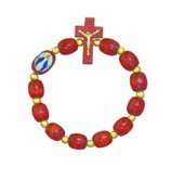 Cherry Wood One Decade Rosary Bracelet with Image of Lady of Grace. Made in Brazil.