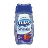 Tums Smoothies Antacid & Calcium Supplement Chewable Tablets, Berry Fusion - 60 ea