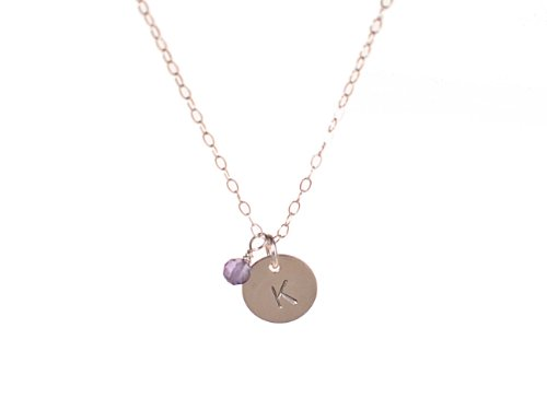 Tiny Silver Initial Necklace With Birthstone