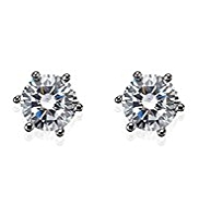 M&S Collection Platinum Plated Diamanté Stud Earrings
