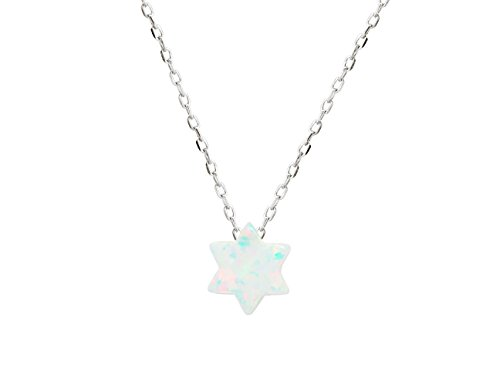 925 Rhodium Plated Silver Mini Opal Stone Star of David Necklace, 15