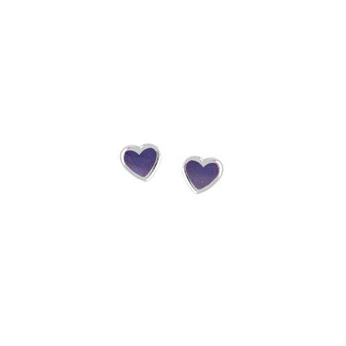 Boma Purple Turquoise & Sterling Silver Heart Post Earrings