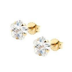 ASS 375 Gold Damen Kinder Ohrringe Ohrstcker Blume Zirkonia weiß 6 mm günstig kaufen