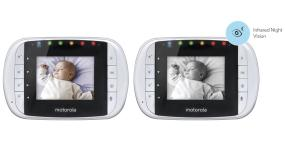 A 2.8 inch diagonal LCD color display shows sound and video monitoring, with infrared night vision.