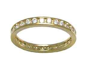 Size 9 Eternity Channel Set Cubic Zirconia Band 14k Yellow Gold Ring