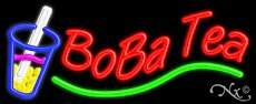 Boba Tea Handcrafted Real Glasstube Neon Sign