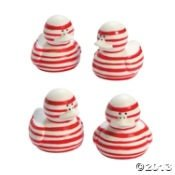 Christmas Candy Cane Rubber Ducks - 12 ct - 1