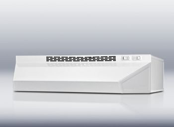 Summit: H1720W 20'' Under Cabinet Range Hood with 180 CFM Interior Blower, 2 Fan Speeds, Switchable Light and Recirculating Operation Only: White