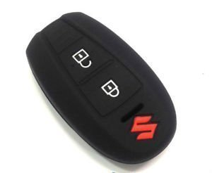 Autosun Silicone Key Cover Fit For: Suzuki Vitara Brezza / Baleno / S Cross / Ciaz / Swift Smart Key (Black)