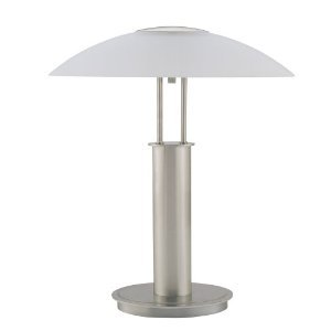 WelcomeiHome .INC 18-Inch Touch Table Lamp, Brushed Nickel with Glass Mushroom Lamp Shade at Sears.com