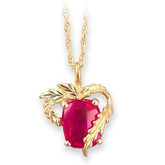Classy! Beautiful! 10k Yellow-gold Black Hills Gold 10x8mm All Months available (July-birthstone shown) Ruby Pendant-necklace