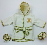 Rene' Rofe' Baby Boy 100% Cotton Hooded Bathrobe w/ Booties Biege (0-9m) - 1
