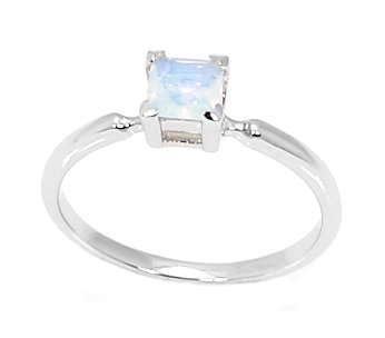 Silver Princess Cut June Synthetic Opal Birthstone Child Ring Size 5