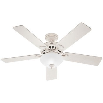 Hunter Fan Company 21435 Sonora 52-Inch 5-Blade Single Light Ceiling Fan, French Vanilla with French Vanilla/Bleached Oak Blades and White Linen Glass Light Bowl