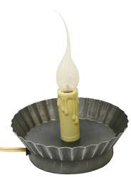Darice 6203-39 Antique Pewter Candle Lamp With Pie Tin Metal Base, 2.5-Inch