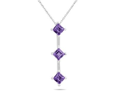 Three Amethyst Drop Pendant in White Gold
