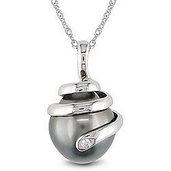 Delmar - Collier Femme - Or Blanc 585/1000 - Perles 10.5 - 11mm - Diamants 0.01ct
