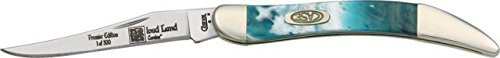 Case Cutlery 910096Cl Cloudland Corelon Toothpick Pocket Knife With Stainless Steel Blade, White, Blue And Green Mixed Corelon