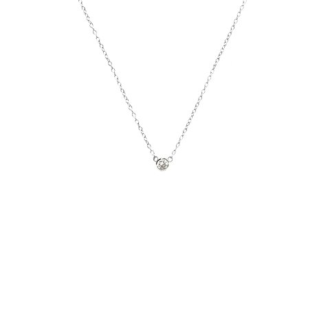 apop nyc Sterling Silver Mini Solitaire CZ Necklace 16 inch