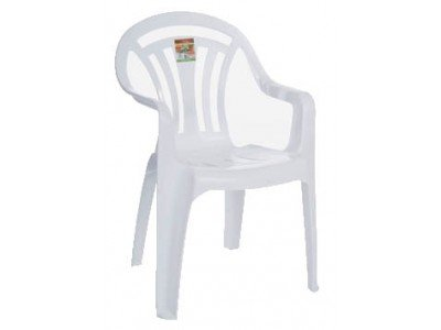 Pack of 4 Gloss White low back patio garden chair #WM