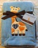 """Embroidered """"Giraffe"""" Blue Soft Plush Reversible Blanket"""