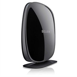 Belkin N600 - Router (10, 100 Mbit/s, 10/100Base-T(X), 802.11a, 802.11b, 802.11g, 802.11n, 300 Mbit/s, 2.4 GHz, Ethernet (RJ-45), Wi-Fi) Negro