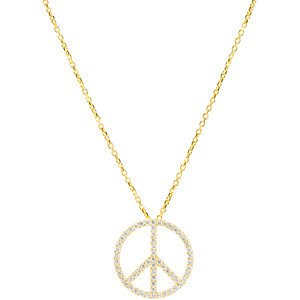Genuine IceCarats Designer Jewelry Gift 14K Yellow Gold Tiny Peace Sign Necklace 16 Inch Tiny Peace Sign Necklace In 14K Yellow Gold