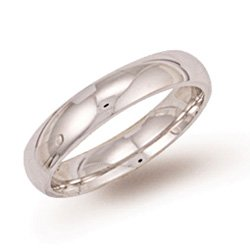 9ct White Gold 4mm Court Wedding Band Ring