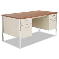 ** Double Pedestal Steel Desk, Metal Desk, 60w x 30d x 29-1/2h, Cherry/Putty **