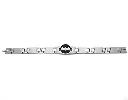 Batman Logo Stainless Steel Chain Link Wristband Bracelet