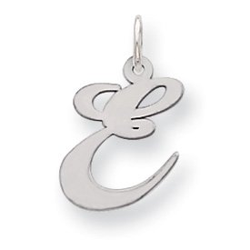 Sterling Silver Medium Fancy Script Initial E Charm - JewelryWeb