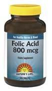 Folic Acid 800Mcg - Vegetarian Nature'S Life 100 Tabs