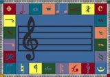 "Joy Carpets Kid Essentials Music & Special Needs Elementary Note Worthy Rug, Multicolored, 7'8"" x 10'9"""