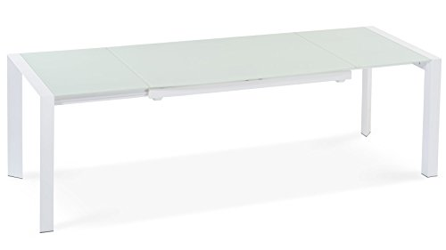 Alton Extending Modern Dining Table with White Glass Top (Glass Extension Table compare prices)